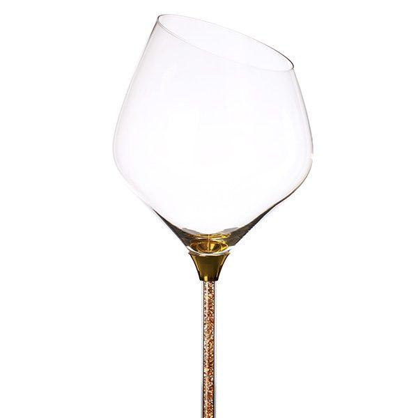 Crystal Stemmed Sloped Red Wine Glass Gold