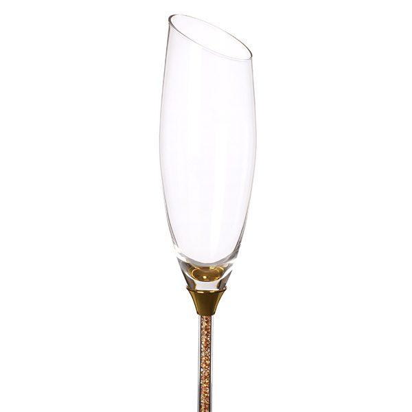 Crystal Stemmed Sloped Champagne Glass Gold