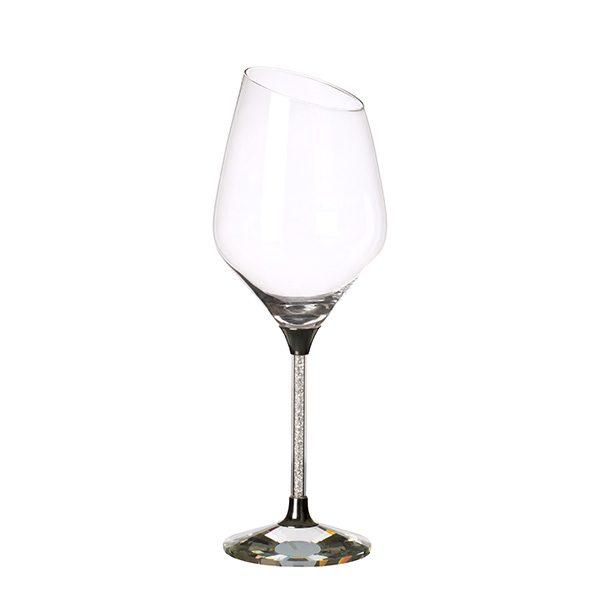 CRYSTAL FILLED SLOPED RIM WHITE WINE GLASS