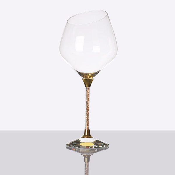 Crystal Filled Stem Sloped Red Wine Grey