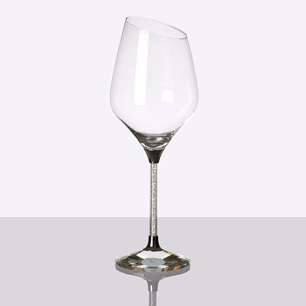 Crystal Filled Stem Sloped White Wine Grey