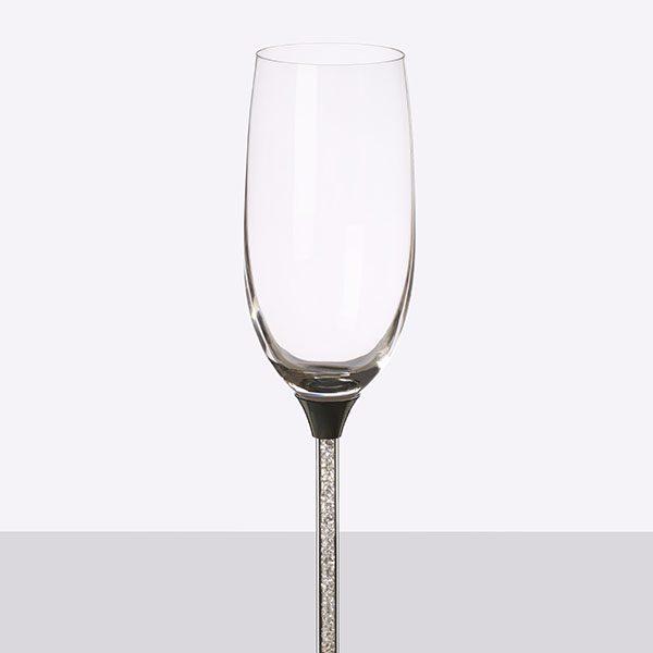Crystal Stem Filled Champagne Grey