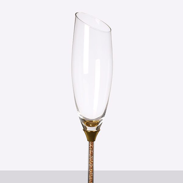 Crystal Stemmed Sloped Champagne Grey