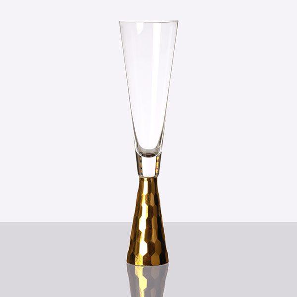 Gold Pyramid Shape Stem Champagne Grey (2)