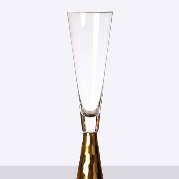 Gold Pyramid Shape Stem Champagne Grey