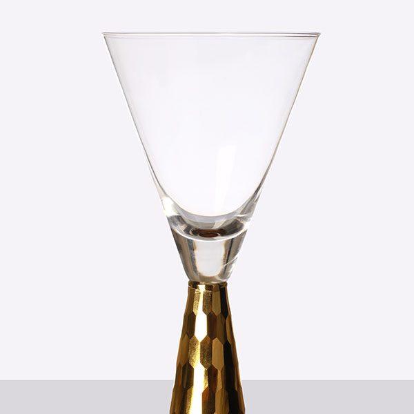 Gold Pyramid Shape Stem Wine (2)