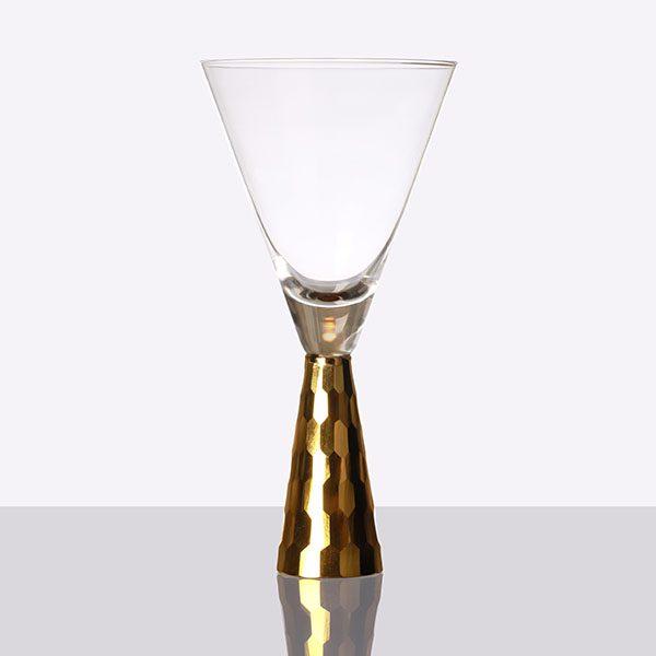 Gold Pyramid Shape Stem Wine