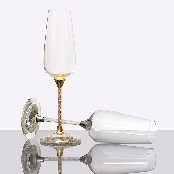 Crystal Filled Stem And Base Champagne Glass (3)
