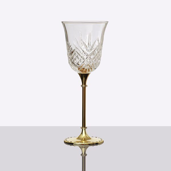 Gold Metal Stand Crystal Wine Glass (2)