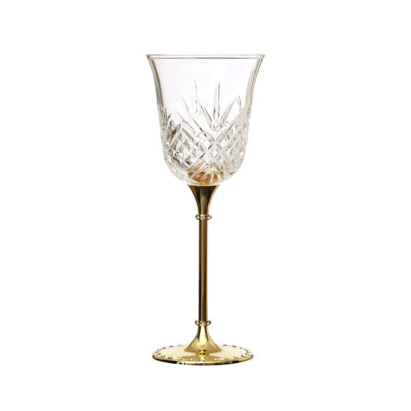Gold Metal Stand Crystal Wine Glass