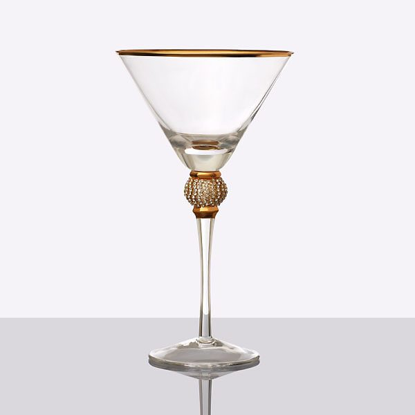Gold Rim Cocktail Glass With Diamond Ball (2)