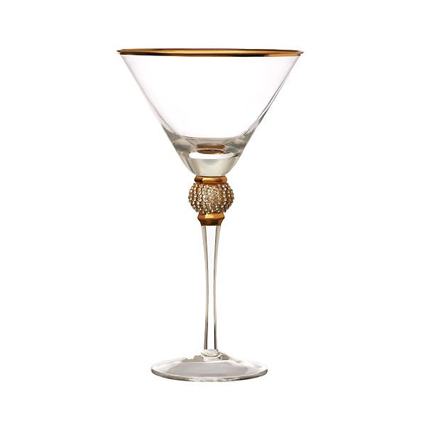 Gold Rim Cocktail Glass With Diamond Ball
